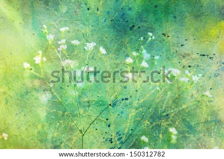 artwork with small cute white flowers and watercolor strokes - stock photo
