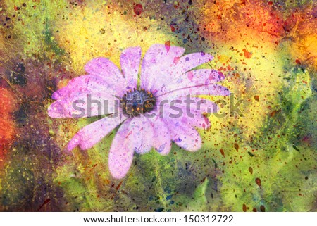 artwork with soft pink cute flower and colorful watercolor strokes - stock photo