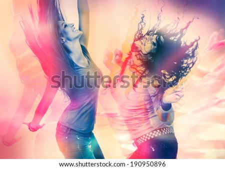 arty picture of two girls dancing - stock photo