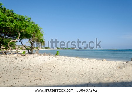 Aruba, Caribbean - September 26, 2012: Amazing view from Baby beach on Aruba island in the Caribbean sea