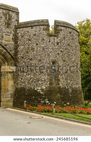 Arundel castle round dungeon, detail of stone dungeon at medieval castle, Arundel , West Sussex  - stock photo