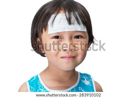 Asain kid looked sick with the common cold. - stock photo