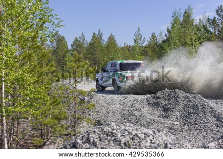 "Asbest, Russia, 22 May 2016 - Rally ""Ural Chrysotile 2016"" 10th round of the Russian Cup, starting number 22, VAZ 2107 driver Muhamanturov"