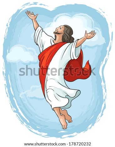 Ascension of Jesus raising hands to God in blue sky between clouds, Easter theme. Raster version - stock photo