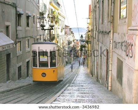 Ascensor da Bica bairro alto lisboa, portugal - stock photo
