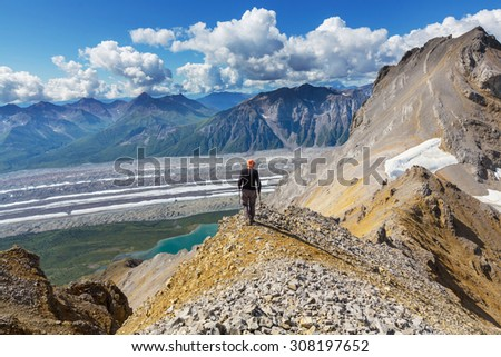 Ascent to Donoho peak,Alaska - stock photo