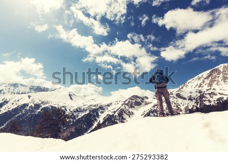 Ascent to Olympus in april - stock photo