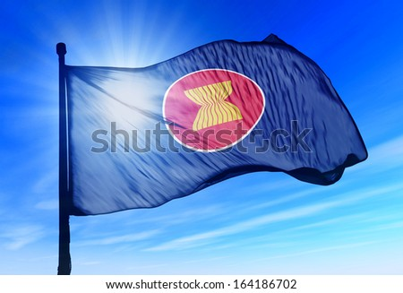 ASEAN flag waving on the wind - stock photo