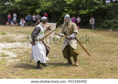 ASENVOGRAD, BULGARIA - JUNE 25, 2016 - Medieval fair in Asenovgrad recreating the life of Bulgarians during the Middle ages. Demonstration of a ancient duel.