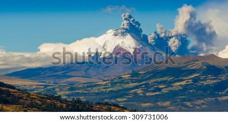 Ash clouds blast eruption from Cotopaxi volcano, Ecuador, South America - stock photo