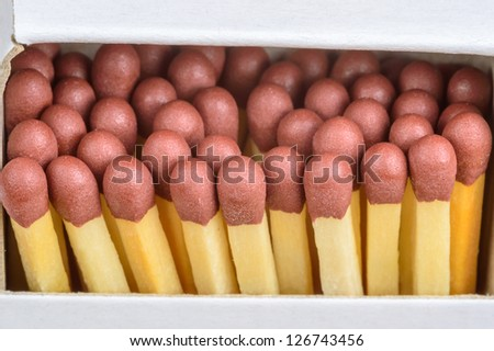 Ash wood and paraffin impregnated safety matches with red phosphorus tips. - stock photo