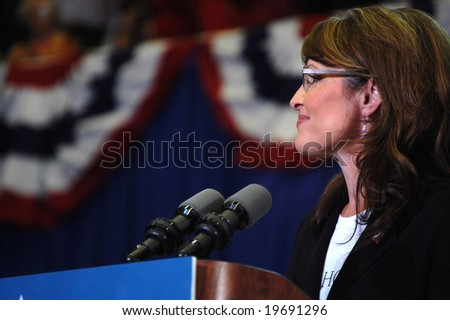 ASHEVILLE, NC - OCTOBER 26: Vice Presidential Candidate Governor Sarah Palin speaks at Asheville Civic Center October 26, 2008 in Asheville, NC - stock photo