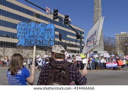 Asheville, North Carolina, USA - February 28, 2016:  Large enthusiastic crowd of presidential candidate Bernie Sanders come together on february 28, 2016 in a rally in downtown Asheville, NC