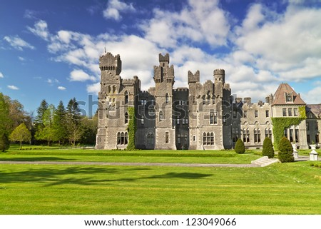 Ashford castle and gardens in Co. Mayo, Ireland - stock photo