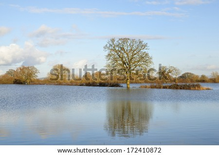Ashleworth Ham in flood, Viewed from banks of River Severn - stock photo