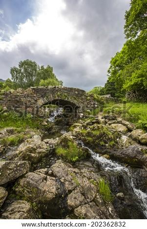 Ashness Bridge in the English Lake District. - stock photo