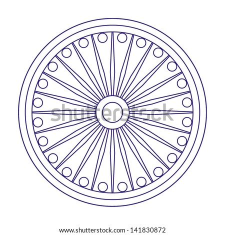 Ashoka Wheel, Indian national symbol in outline - stock photo