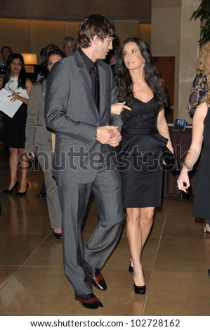 "Ashton Kutcher and Demi Moore at the 18th Annual ""A Night at Sardi's"" benefitting the Alzheimer's Association, Beverly Hilton, Beverly Hills, CA. 03-18-10 - stock photo"