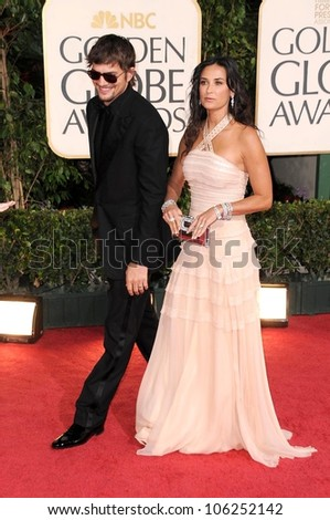 Ashton Kutcher and Demi Moore at the 66th Annual Golden Globe Awards. Beverly Hilton Hotel, Beverly Hills, CA. 01-11-09 - stock photo