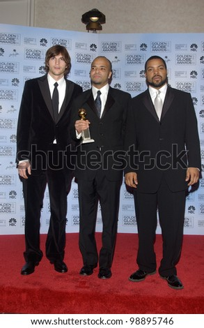 ASHTON KUTCHER (left), JEFFREY WRIGHT & ICE CUBE at the 61st Annual Golden Globe Awards at the Beverly Hilton Hotel, Beverly Hills, CA. January 25, 2004 - stock photo