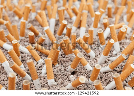 Ashtray closeup full of smoked cigarettes in the sand - stock photo