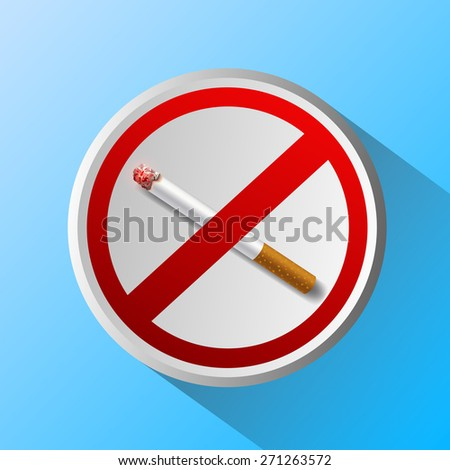 ashtray with cigarette and prohibitory sign - stock photo