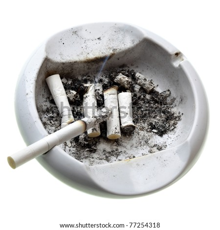 Ashtray with cigarette butts isolated over white background - stock photo