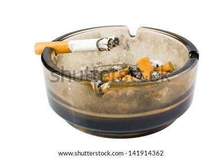 ashtray with cigarette on white background - stock photo