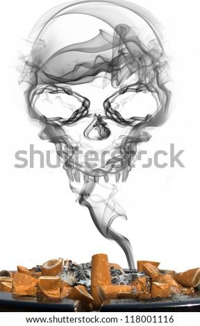 ashtray with cigarettes and smoke skull - stock photo