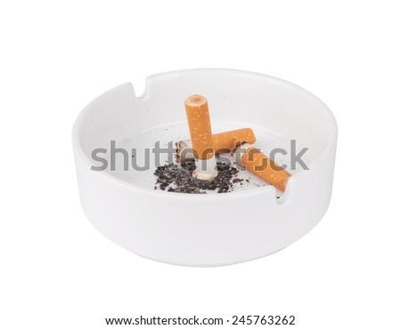 ashtray with extinguished cigarette isolated on white background - stock photo