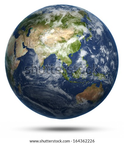 Asia and Australia world map. Earth globe model, maps courtesy of NASA - stock photo