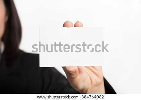 Asia business woman showing blank business card on white background