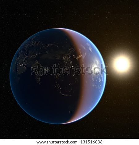 Asia city lights. Extremely detailed image, including elements furnished by NASA - stock photo