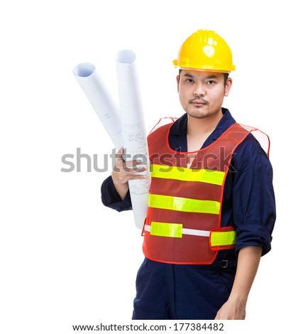 Asia construction worker with blue print - stock photo