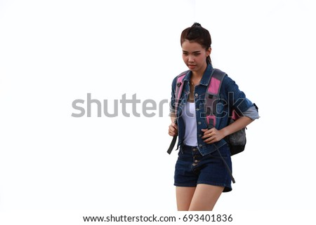Asia cute woman walk travel with her back pack on white background