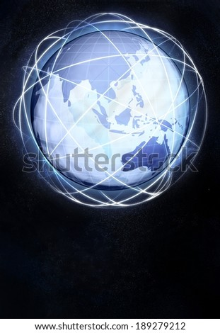 asia earth globe view from cosmic space illustration - stock photo