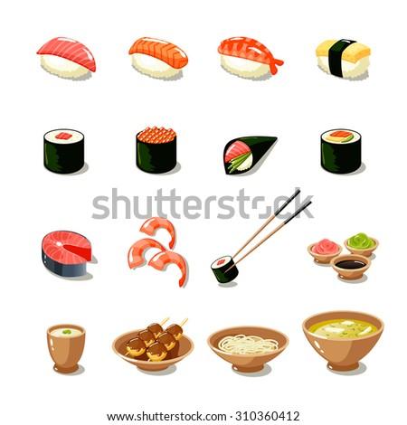 Asia food icon set with sushi rolls sashimi noodle miso isolated  illustration - stock photo
