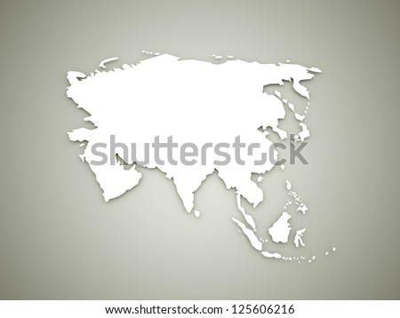 Asia geografic continental map on dark background - stock photo