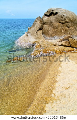 asia in thailand  kho tao  bay isle white  beach    rocks pirogue  and south china sea