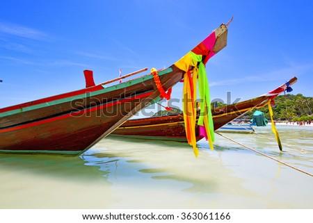 asia in the  kho tao bay isle white  beach    rocks house boat   thailand  and south china sea anchor - stock photo