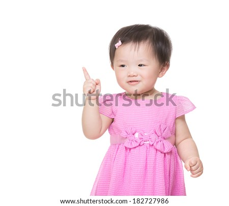 Asia little girl finger pointing out