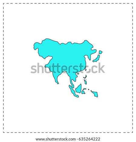 asia map blue simple pictogram with black stroke on white background flat icon illustration