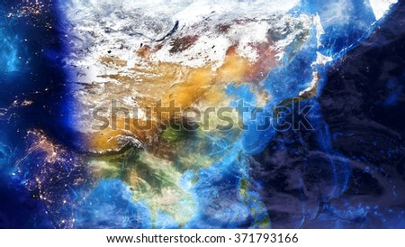 Asia Map Energetic - Special Effect (Elements of this image furnished by NASA) - stock photo
