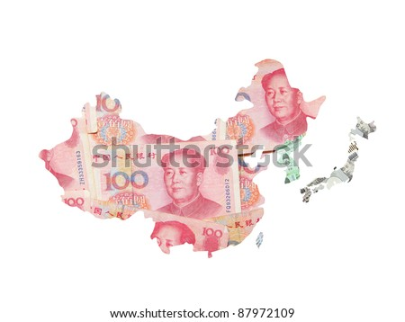 Asia map made by asian currency (include Chinese Money yuan, japanese Yen, Korean Won, Taiwan dollar) - stock photo