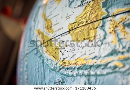 Asia map part of a world globe - stock photo