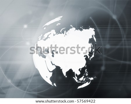 Asia map technology-style artwork - stock photo