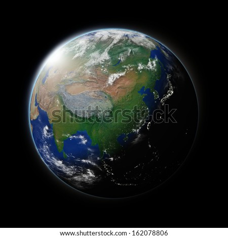 Asia on blue planet Earth isolated on black background. Highly detailed planet surface. Elements of this image furnished by NASA.