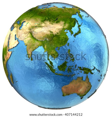 Asia on detailed model of planet Earth with continents lifted above blue ocean waters. 3D Illustration. Elements of this image furnished by NASA.