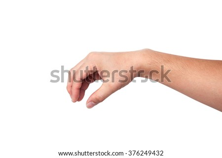 Asia people male hand white and yellow skin with handle, grip isolated on a white background - stock photo