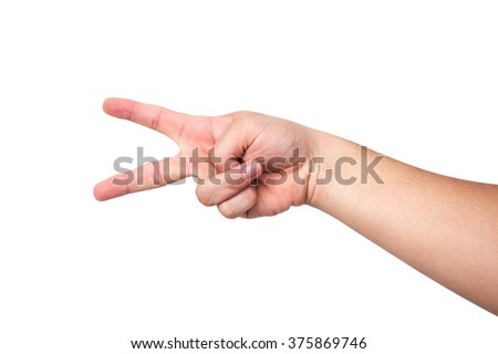 Asia people male hand white and yellow skin with two fingers isolated on a white background
